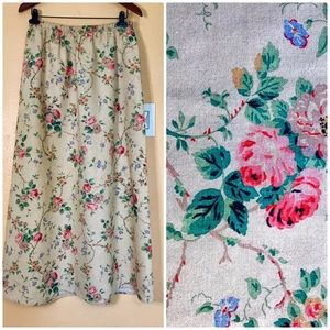 Laura Ashley Linen Floral Skirt